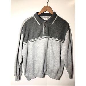 Taylor & Henry Grey Stripe wave Sweater Size Large